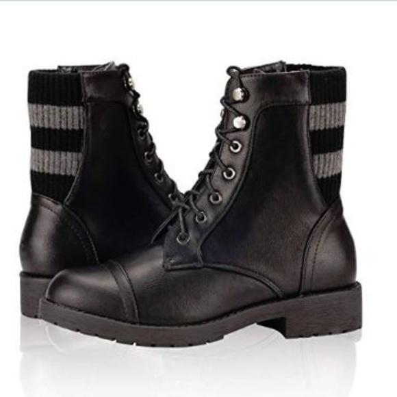 3f8e2f53c79 Combat Boots Low Heel Lace Up Cross Stripe Woven